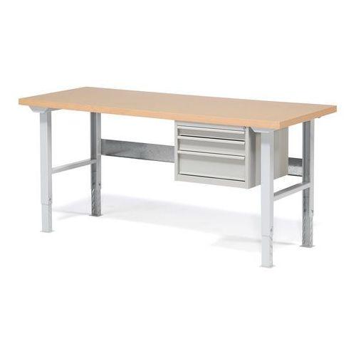 Stół warsztatowy ROBUST, z regulacją wysokości, 3 szuflady, 800x2000 mm