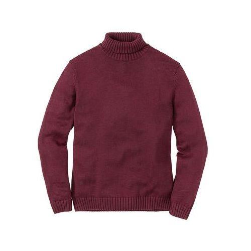 Sweter z golfem Regular Fit bonprix bordowy melanż, kolor czerwony