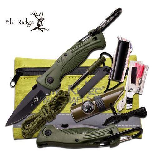 Usa Nóż myśliwski elk ridge plus zestaw survivalowy - er-pk4g