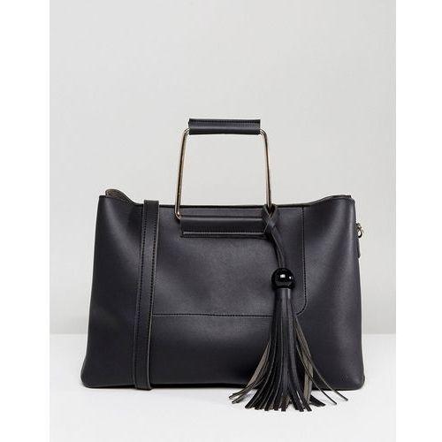 structured tote bag with metal handle - black marki Park lane