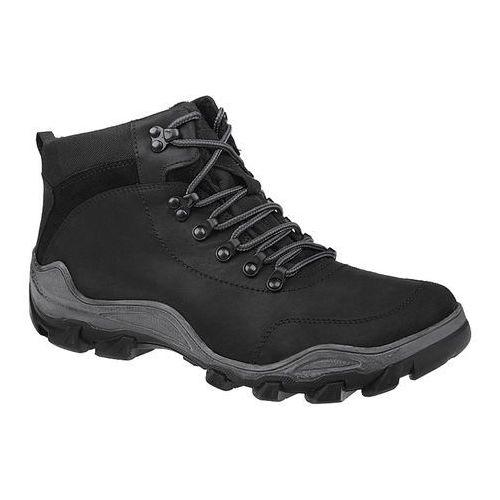 Trzewiki trekkingowe zimowe KORNECKI 3854 Czarne TEX ocieplane - Czarny, kolor czarny