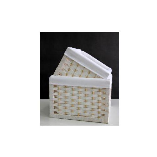 """Wiklinowy koszyk dekoracyjny kwadrat biały 2718 jd9510 rozmiar """"l"""" marki Pozostali"""