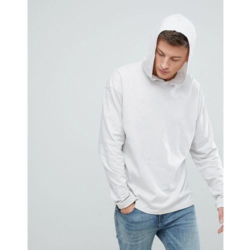 New Look Long Sleeve T-Shirt With Hood In Light Grey - Grey
