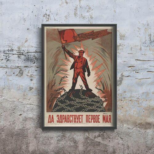 Vintageposteria.pl Plakat vintage do salonu plakat vintage do salonu radziecki druk propagandowy z maja