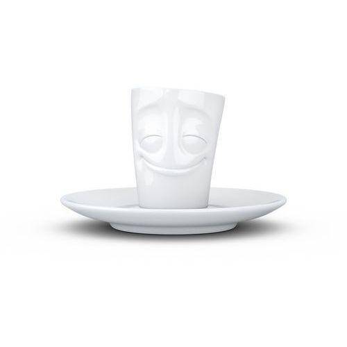 """- kubek do espresso - """"zadowolona buźka"""" - biały błyszczący marki 58products"""