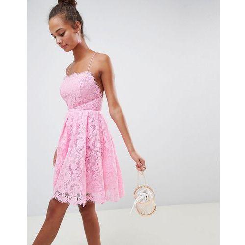 ASOS DESIGN square neck mini lace prom dress - Pink, kolor różowy