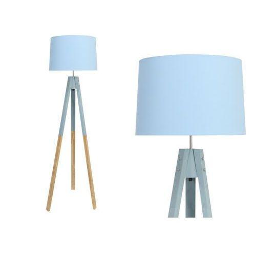 Lampa podłogowa w skandynawskim stylu STAVENGER - wys. 149 cm - Drewniane nogi - kolor niebieski