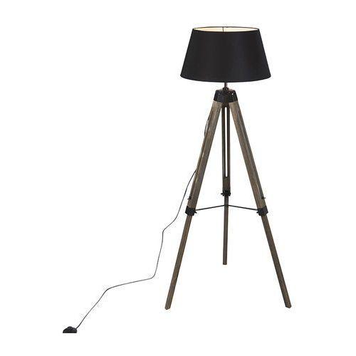 Qazqa Przemysłowa lampa podłogowa na drewnianym statywie z czarnym kapturem - rio