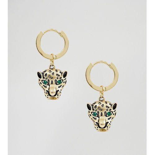 gold plated huggie hoop with leopard drop - gold marki Orelia