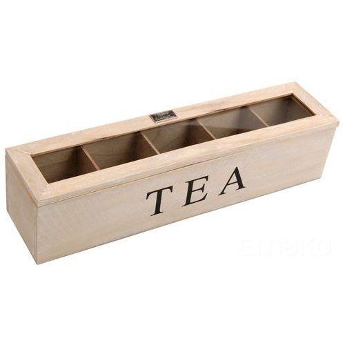 Emako Drewniana, podłużna herbaciarka tea, 5 przegródek
