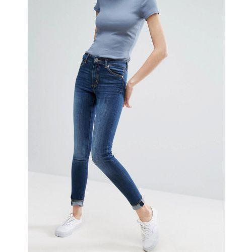 Monki mocki slim mid waist jeans - blue