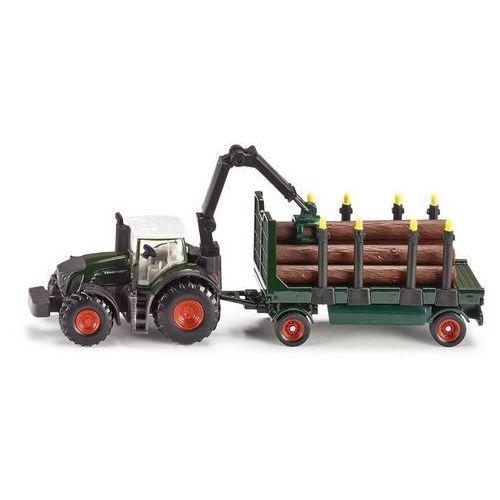 Zabawka  farmer traktor z przyczepą leśną marki Siku