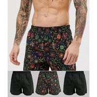 ASOS DESIGN woven boxer with hand drawn floral print 3 pack multipack saving - Multi, w 2 rozmiarach