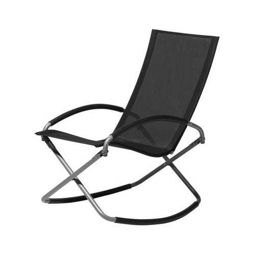 Krzesło ogrodowe czarne tekstylne składane CASTO (7105271630581)