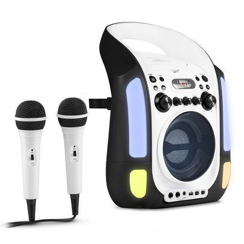 OKAZJA - Auna kara illumina zestaw karaoke cd usb mp3 pokaz świetlny led 2 x mikrofon mobiny czarny