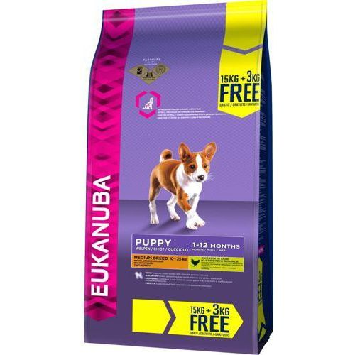 EUKANUBA Puppy&Junior Medium Breed Chicken 15kg +3kg GRATIS (8710255122564)