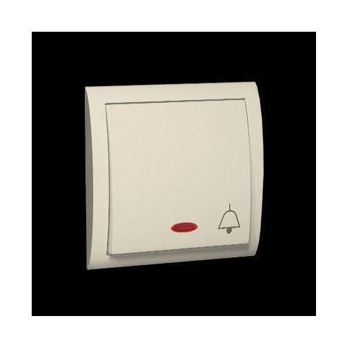 Przycisk dzwonek z podświetleniem, bryzgoszczelny 10AX, 250V~, szybkozłącza; beż