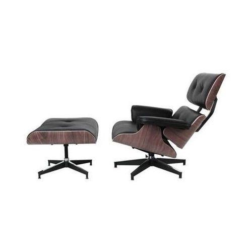 Fotel Vip z podnóżkiem czarny/walnut/standard base, d2-4409