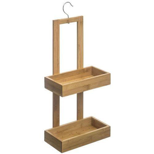Praktyczna półka łazienkowa, z drewna bambusowego, mocowana za pomocą wieszaka, wysokość 61 cm, kolor brązowy, 2 poziomy