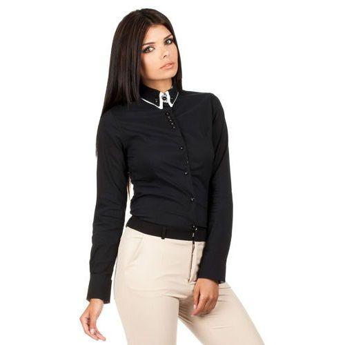 Czarna Klasyczna Koszula z Podwójnym Kołnierzykiem, kolor czarny