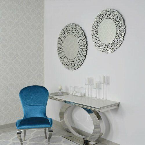 Bellacasa Srebrne lustro glamour okrągłe śr. 70 cm m-0501
