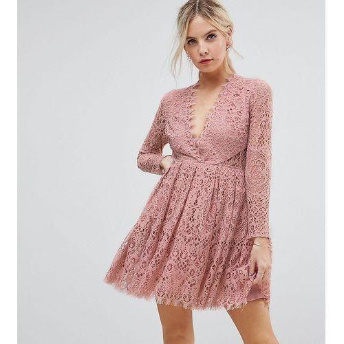 ASOS PETITE Long Sleeve Lace Mini Prom Dress - Pink, kolor różowy