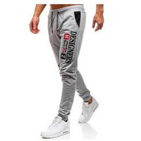 Spodnie męskie dresowe joggery szare Denley KK525