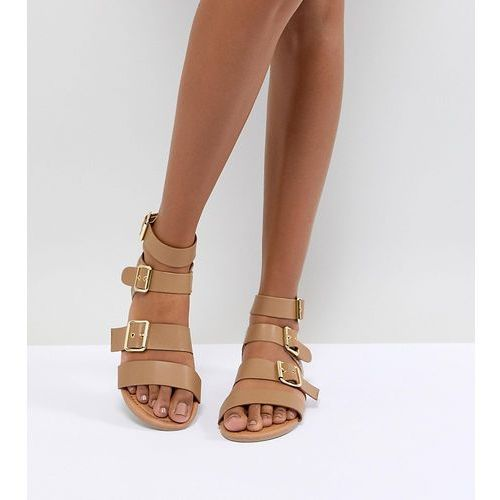 Park Lane Metal Trim Buckle Flat Sandal - Beige