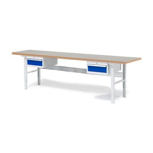 Stół roboczy SOLID, z 2 szufladami, 500 kg, 2500x800 mm, winyl, 232135