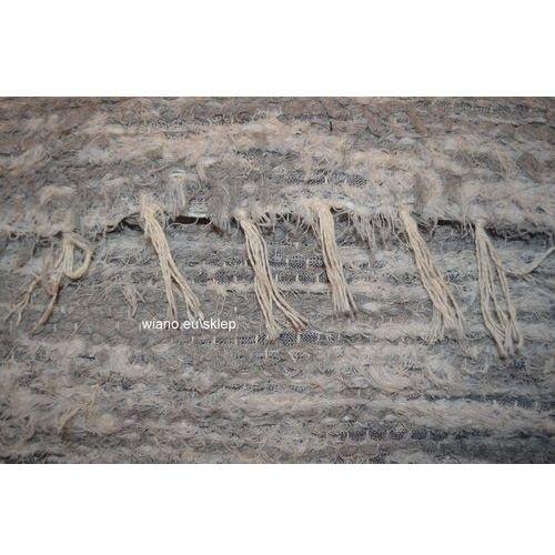 Chodnik bawełniany\pled ręcznie tkany jasno szary - biały 65x120 cm