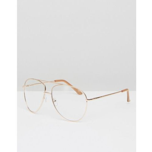 ASOS Geeky Metal Frame Aviator With Clear Lens And Top Bar In Rose Gold - Gold z kategorii Pozostałe