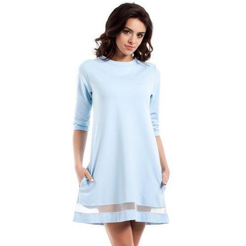 Błękitna klasyczna sukienka trapezowa z siatkowym panelem, Moe, 36-42