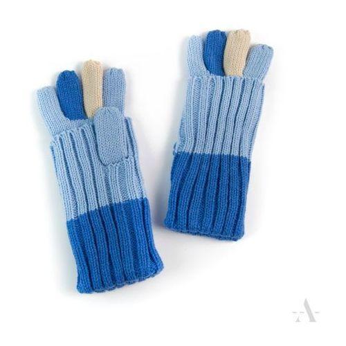 Kolorowe uniwersalne rękawiczki 2 w 1 długie i krótkie niebieskie - niebieski
