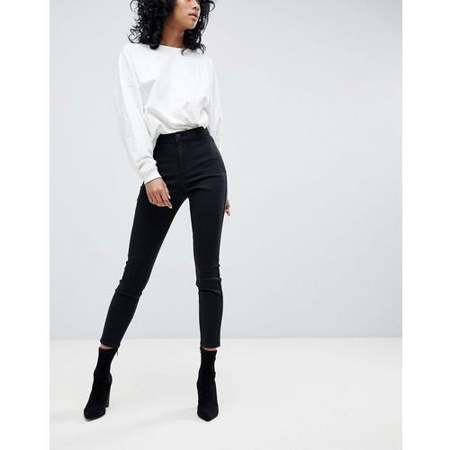 ASOS Ankle Length Stretch Skinny Trousers With Zip Side Pockets - Black, len