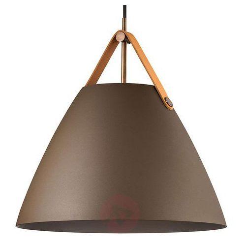 Skandynawska lampa wisząca strap 84343009 dftp metalowa oprawa zwieszana na skórzanym pasku zwis beżowy marki Nordlux
