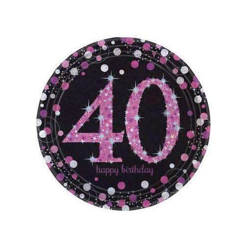 Amscan Talerze na 40 urodziny różowe sparkling celebration (0013051637682)