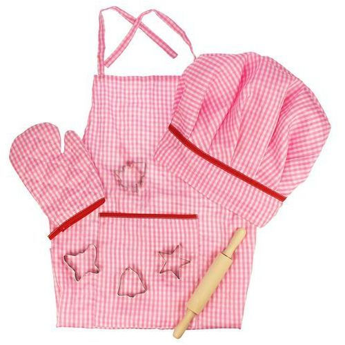 Bigjigs Toys Różowy strój kucharski z akcesoriami