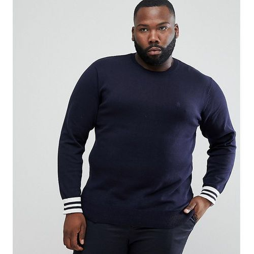 plus crew neck knitted jumper with contrast cuff - navy, French connection