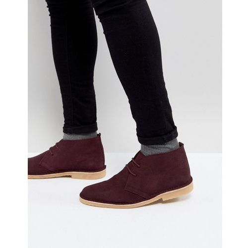 suede desert boots in burgundy - red, Pier one