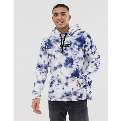 small chest logo acid wash overhead hoodie in blue exclusive at asos - blue marki Hollister