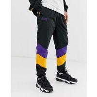 New era nba la lakers colour block track joggers in black - black