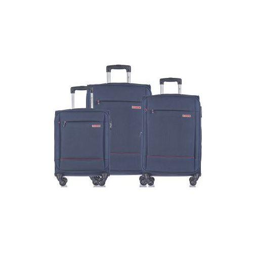 Puccini Komplet walizek zestaw duża + średnia + mała/ kabinowa em50720 z kolekcji parma 4 koła materiał poliester zamek szyfrowy