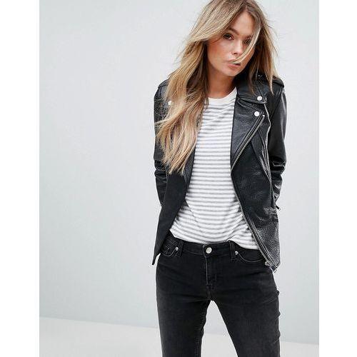 Mango Leather Biker Jacket - Black