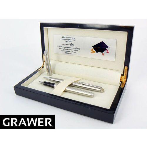 Zestaw pióro wieczne i długopis  hemisphere stalowy ct z grawerem w drewnianym pudełku marki Waterman