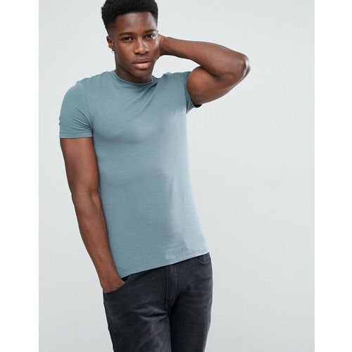 ASOS Extreme Muscle Fit T-Shirt With Crew Neck In Blue - Blue, kolor niebieski