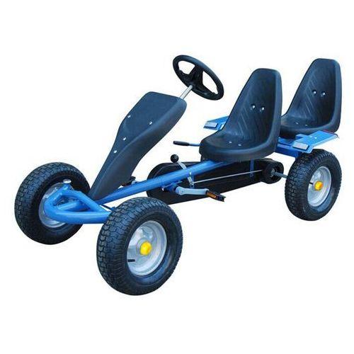 vidaXL Gokart niebieski, z dwoma fotelami (8718475809944)
