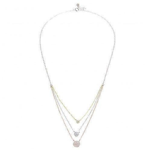 Biżuteria damska ze srebra SAXO Naszyjnik srebrny pozłacany SŁ.040.01, kolor szary