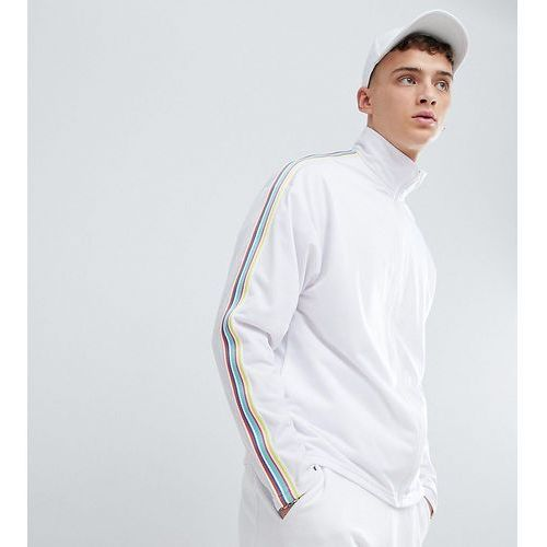 inspired festival track jacket with rainbow tape in white - white marki Reclaimed vintage