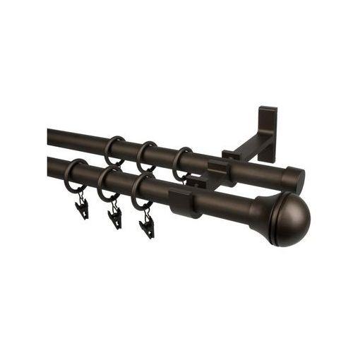 Karnisz KULKA GRAWER 240 cm podwójny brązowy 19 mm metalowy (5907800395341)