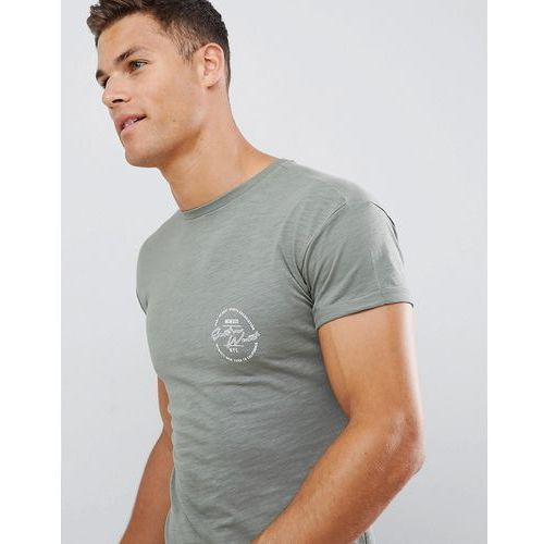 New Look muscle fit t-shirt with east print in khaki - Green, kolor zielony